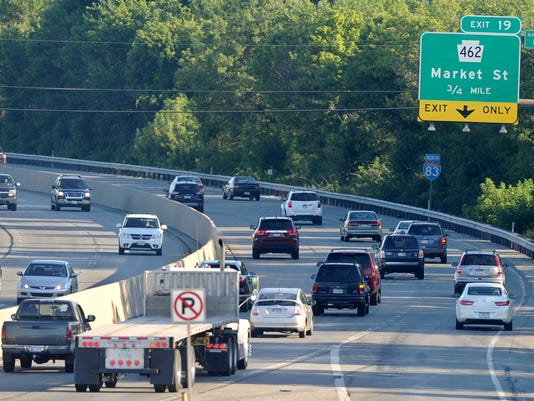 Traffic moves northbound toward the Market Street exit on Route 83 on Friday morning, July 24, 2015.