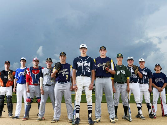 The GameTimePA.com YAIAA baseball all-stars are, from left: York Suburban's Thomas Merkle, Spring Grove's Matt Brooks, New Oxford's Keegan Romanoff, Delone Catholic's Austin Kuntz, Eastern York's Brandon Knarr, West York's Cash Glatfelter, Eastern York's Colby Shimmel, York Catholic's Jake Krevetski, West York's Logan Stover, West York's Brett Kinneman and Dallastown's Tye Golden.