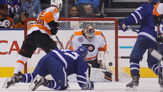 Goalie Steve Mason allowed six goals on 23 shots in Friday night's loss to the Toronto Maple Leafs.