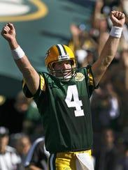 Green Bay Packers' Brett Favre celebrates a touchdown