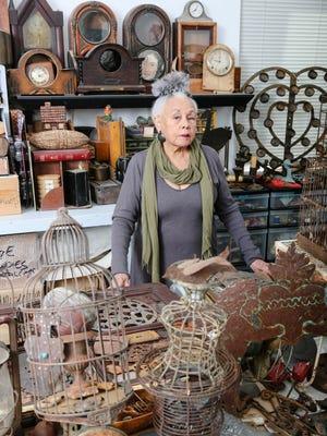 Artist Betye Saar in her studio in Los Angeles' Laurel Canyon.