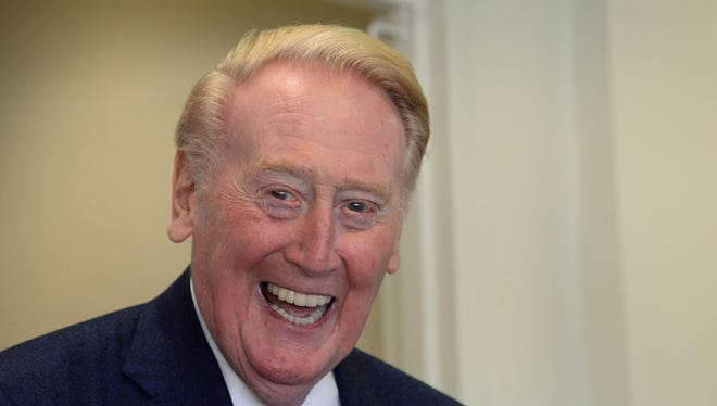 May 24, 2016: Los Angeles Dodgers broadcaster Vin Scully before the game against the Cincinnati Reds at Dodger Stadium.