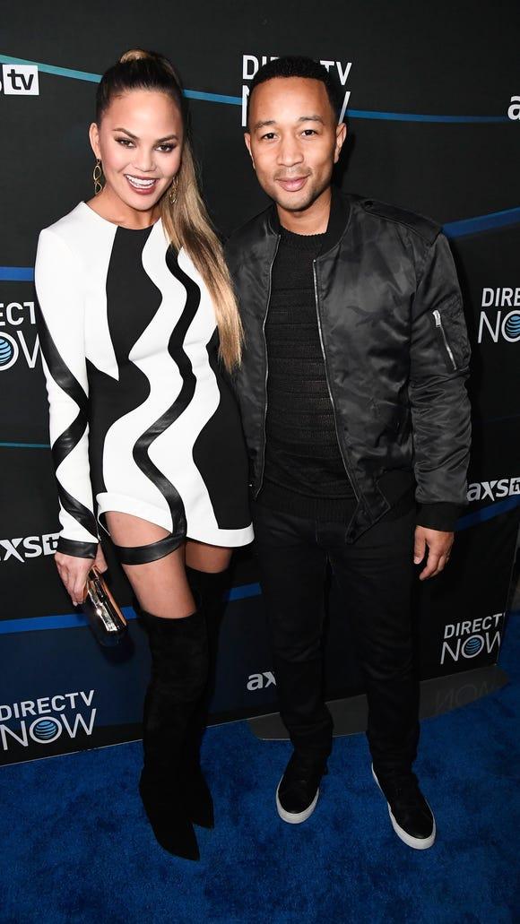 Chrissy Teigen and John Legend attend the 2017 DIRECTV