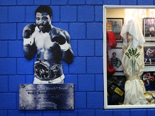 "Aaron ""The Hawk"" Pryor's image hangs on the wall of the Golden Gloves boxing gym in Over-the-Rhine. Pryor was the World Junior Welterweight Champion from 1980 to 1985 and was inducted into the International Boxing Hall of Fame in 1996."