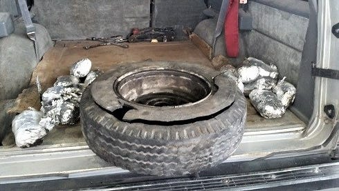 U.S. Customs and Border Protection found 33 pounds of methamphetamine in a spare tire Monday at the Bridge of the Americas.