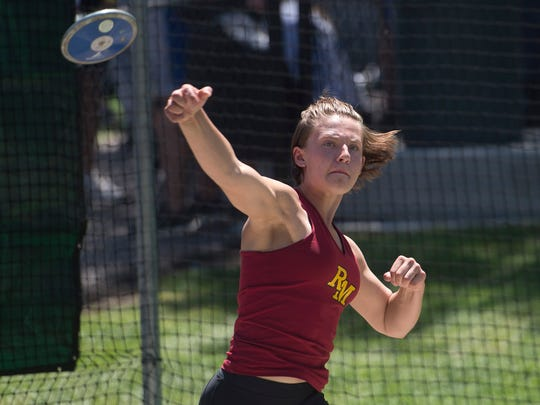 Rocky Mountain's Lindsey Osterfelt has the fourth-best throw in 5A in the discus.