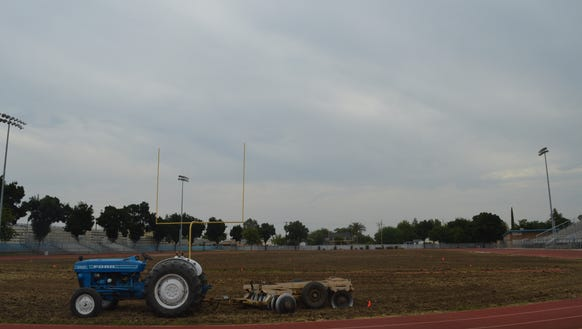 The Exeter Monarchs football field is undergoing renovations