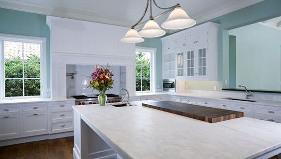 White quartz countertops.