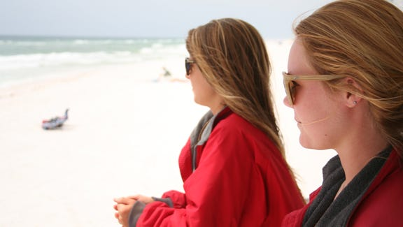 Sarah Johnson and Katie Oldham keep the beaches safe.