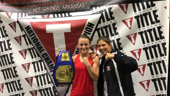 Sadie Roberts and Andrea Nelson pose for a photo at the TITLE Boxing Nationals in Hot Springs, Arkansas, in June 2017.