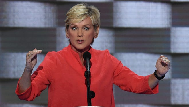 Former Michigan Governor Jennifer Granholm addresses delegates on the fourth and final day of the Democratic National Convention at Wells Fargo Center on July 28, 2016, in Philadelphia.