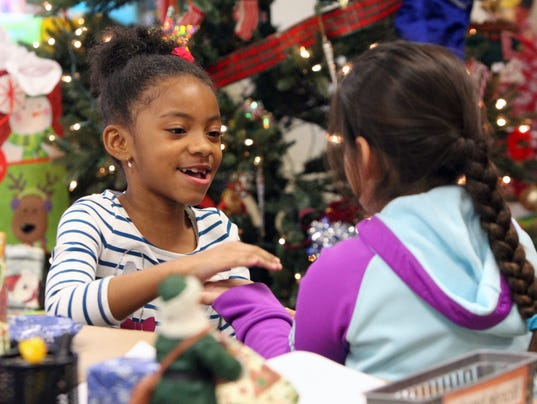 Hempstead Elementary Christmas trees and gifts