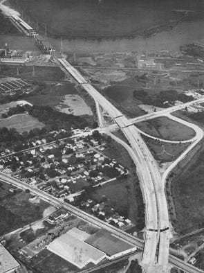 Sept. 5, 1973: Construction is under way on the I-495 Christina River bridge.