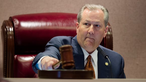 Speaker of the House Mike Hubbard bangs the gavel during the Alabama House of Representatives legislative session on Tuesday, March 15, 2016, at the house chambers in Montgomery, Ala.