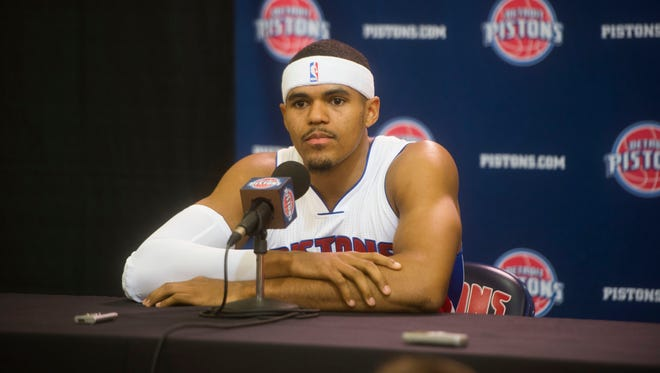The Pistons' Tobias Harris answers questions during media day at the Pistons' practice facility in Auburn Hills on Monday, Sept. 26, 2016.