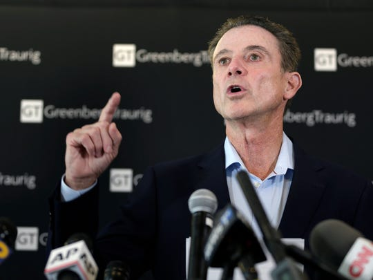 Former Louisville basketball coach Rick Pitino talks to reporters during a news conference in New York, Wednesday, Feb. 21, 2018. Pitino held the news conference in the wake of an NCAA decision in a sex scandal case that strips the Cardinals program of 123 victories, a national championship and $600,000 in post-season revenue. (AP Photo/Seth Wenig)
