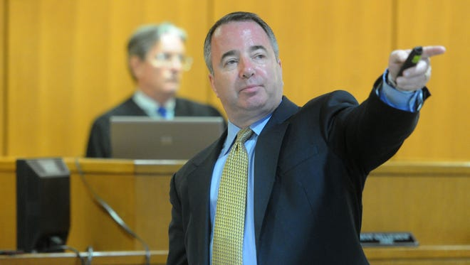 Attorney David Bricker addresses the jury during opening statements Tuesday in Ventura. Bricker claims exposure to pesticides caused health issues in an Oxnard boy.