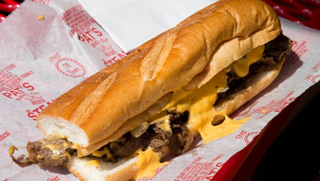 A cheesesteak from Pat's King of Steaks sits in Philadelphia