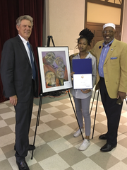 Congressman Pallone with the Art Competition winner and her grandfather.