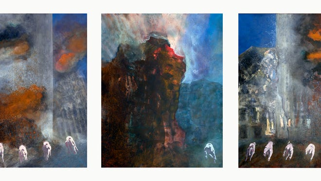 Triptych of 9/11 painted by Millerton artist Murray Zimiles after a visit to ground zero, just days after the World Trade Center terrorist attacks.