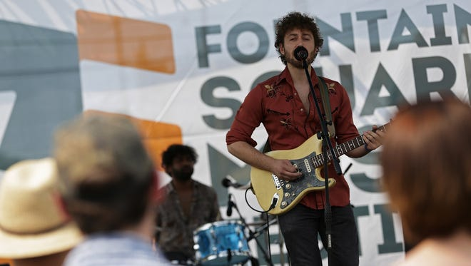This 2015 photo shows Josh Siegel performing with Chicago-based band Bailoff at the Fountain Square Music Festival.