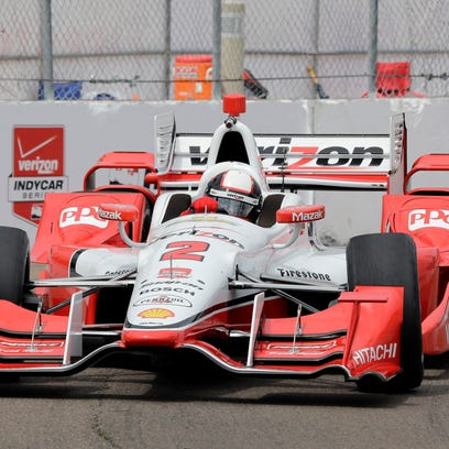 Juan Pablo Montoya, of Colombia, during practice for the IndyCar Firestone Grand Prix of St. Petersburg auto race Friday, March 27, 2015, in St. Petersburg, Fla. The race takes place on Sunday. (AP Photo/Chris O'Meara)