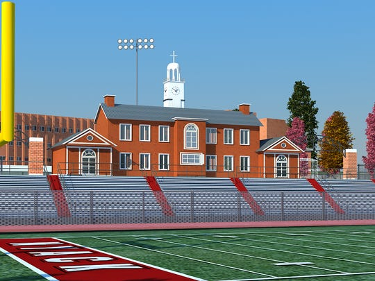 An artist's rendering of the proposed tower at Nyack High School, which would replicate the tower at MacCalman Field. The tower would include a concession stand, locker rooms, meeting rooms, a press box, restrooms and a replica of the clocktower that has been a backdrop for Nyack High School football games for 88 years.