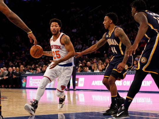 New York Knicks guard Derrick Rose (25) drives to the basket past Indiana Pacers guard Jeff Teague (44) during the second half at Madison Square Garden.