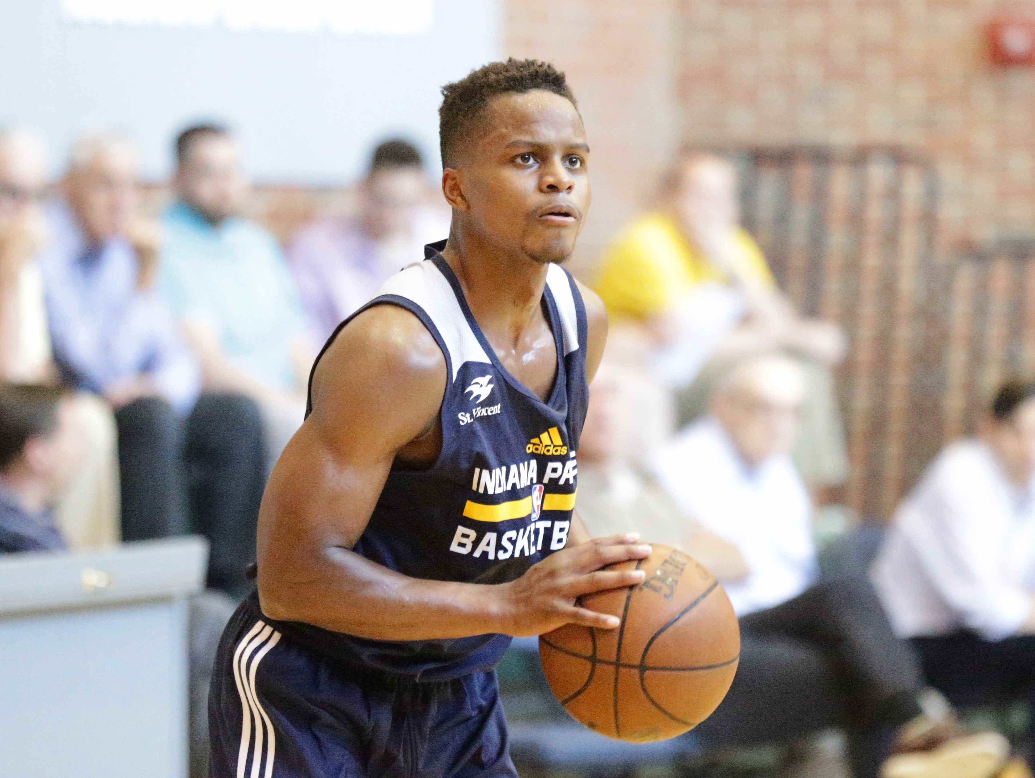 Yogi Ferrell runs shooting drills during a pre-draft work out with the Indiana Pacers, at Bankers Life Fieldhouse, July 17, 2016.