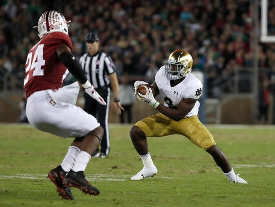 Notre Dame running back Dexter Williams has big shoes