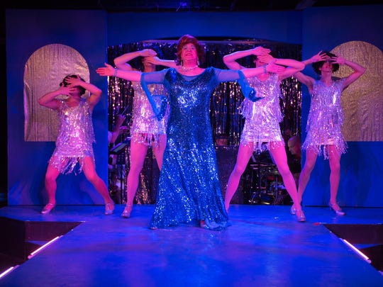 """Starring in """"La Cage Aux Folles"""" at City Theater Company are, center, Patrick O'Hara and, from left, Andrew Dean Laino, William Bryant, Zach DeBevac and Christian Ryan."""
