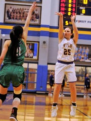 Wylie's Lauren Fulenwider (25) takes a 3-point shot