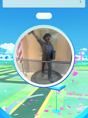 Our newspaper boy statue is a PokeStop!