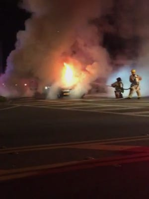 A Palm Bay vehicle fire left motorists in an extended traffic jam