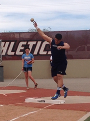 It's just his first year in track and field, but Lane Ryen did well enough in the shot put to compete with New Mexico's top eight throwers.