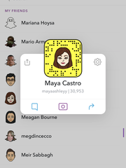 Checking Maya's Snap Score to see how active she's