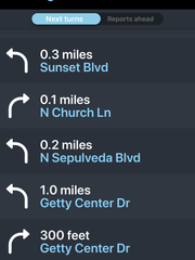 Waze's directions to the Getty Center on Thursday morning
