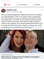 A screenshot of one of the Facebook posts made by Angella Luyk, updating her friends about the health of her husband, Harry Powell.
