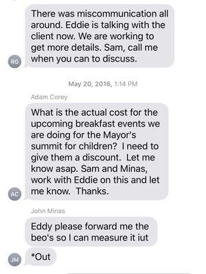 Adam Corey text message May 20, 2016.