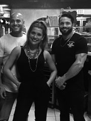 """Left to right: John Spaccarelli Jr., aka """"Johnny Mozz,"""" his wife, Danielle Spaccerelli and brother Victor Spaccerelli at Prato Trattoria, their Carmel restaurant."""