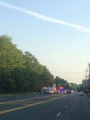 The scene of a serious motor vehicle crash in Tinton Falls on Saturday evening.