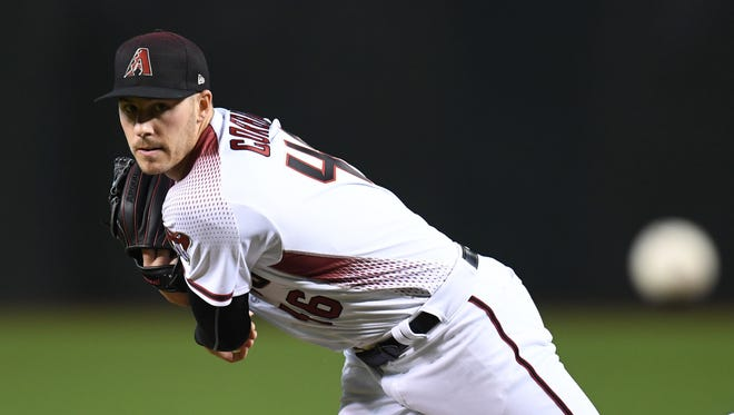 Arizona Diamondbacks starting pitcher Patrick Corbin (46) pitches against the Los Angeles Dodgers during the first inning at Chase Field.