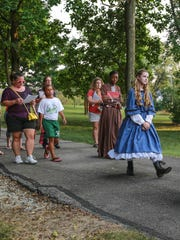 Actors from Main Street Productions and support staff gathered in Asa Bales Park for a dress rehearsal of Voices from the Past, a walking tour of Westfield's history on Sept. 3rd.