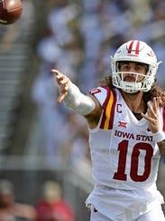 Sep 16, 2017; Akron, OH, USA; Iowa State quarterback