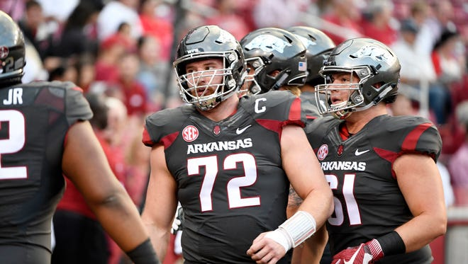 Arkansas lineman Frank Ragnow was drafted 20th overall by the Lions in April.