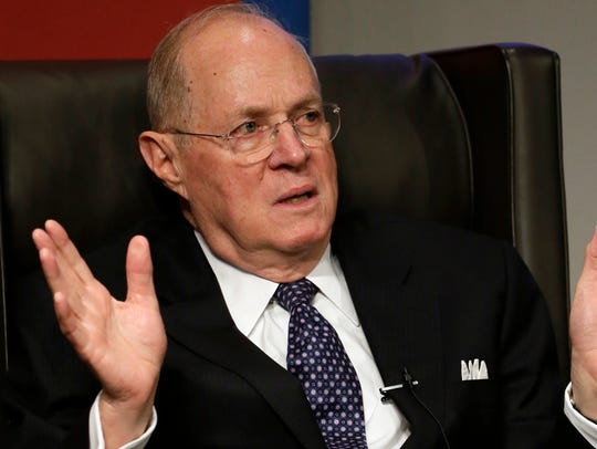Supreme Court Justice Anthony Kennedy is pictured speaking