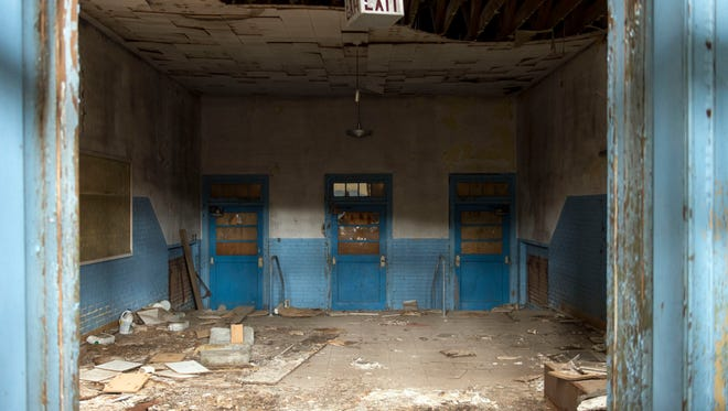 Just inside the main entrance into the old South High School building.