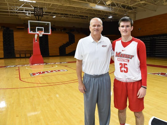 Paul Lee, left, assistant men's basketball coach at Marist College, pictured with his son Tucker, right, 18, a freshman at Marist who is on the basketball team.
