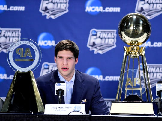 FILE -- Doug McDermott of Creighton addresses the media after winning the AP player of the year award during a press conference prior to the Div I Mens Basketaball Championship tournament at AT&T Stadium