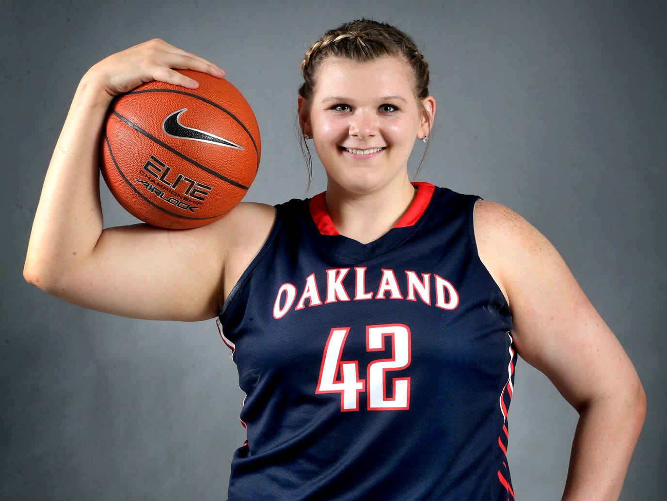 Shelby Gibson is one of the players on the all-area girls basketball team. Photo shot in the studio on April 9, 2015.